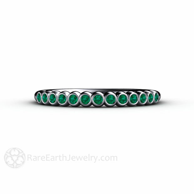 Platinum Green Emerald Bezel Ring Stackable Band Rare Earth Jewelry