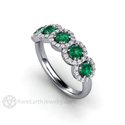 Rare Earth Jewelry Round Cut Green Emerald Diamond Halo 5 Stone Band 14K or 18K White Gold