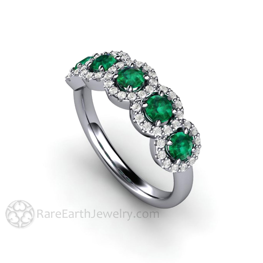 58b34b61524e1 Emerald and Diamond Ring Wedding Ring or Anniversary Band