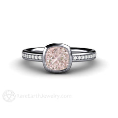 Platinum Pink Sapphire and Diamond Ring Bezel Setting Cushion Solitaire Rare Earth Jewelry