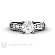 1ct Moissanite Engagement Ring Round Cut Diamond Euro Shank Setting Rare Earth Jewelry