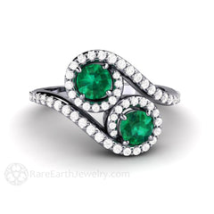 Rare Earth Jewelry Platinum Engagement Ring Vintage 2 Stone Bypass Emerald Halo