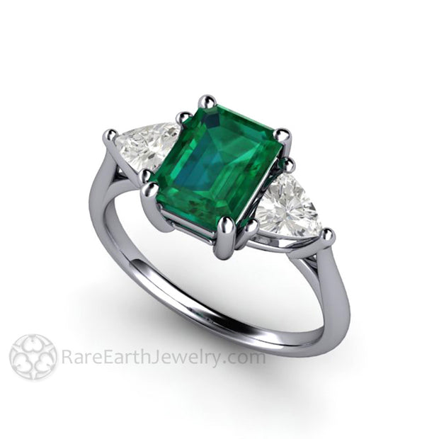 Platinum Green Emerald Engagement or Anniversary Ring with White Sapphires Rare Earth Jewelry