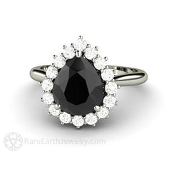 Black Moissanite Right Hand Cocktail Ring Rare Earth Jewelry