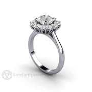 Rare Earth Jewelry Platinum Moissanite Engagement Ring 7mm Colorless Round Cut Forever One