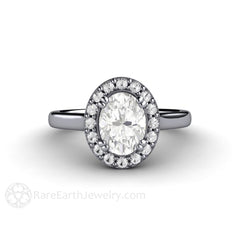 Platinum Moissanite Anniversary Ring Oval with Diamond Halo Rare Earth Jewelry