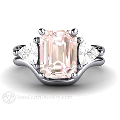 Pink Morganite Emerald Cut 3 Stone Ring Bridal Wedding Set
