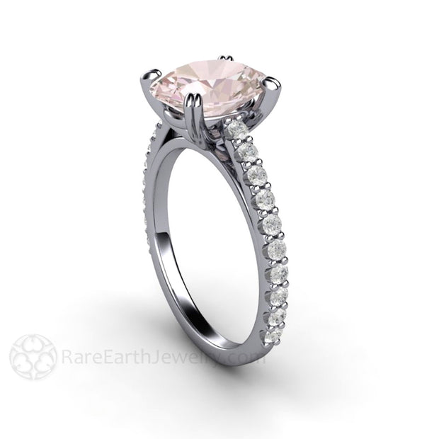 Rare Earth Jewelry 14K Oval Cut Pink Morganite Right Hand or Anniversary Ring 14K White Gold