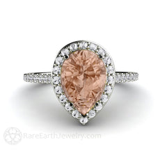 Pear Shaped Morganite Diamond Halo Ring Platinum Setting Rare Earth Jewelry