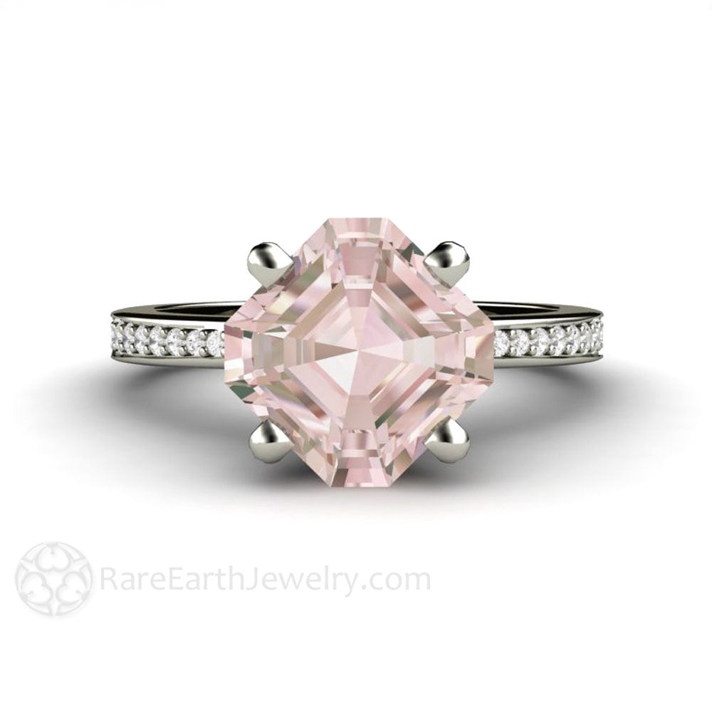 Rare Earth Jewelry Asscher Cut Morganite Engagement Ring