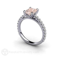 Platinum Cushion Cut Morganite and Diamond Anniversary Ring Rare Earth Jewelry
