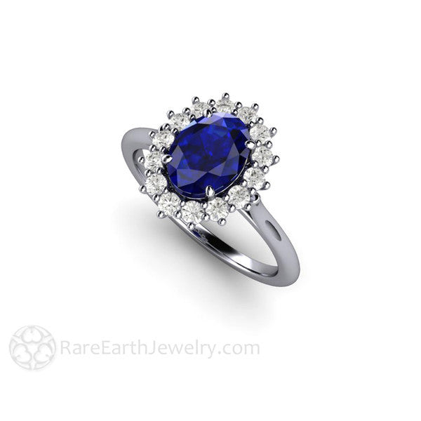 Rare Earth Jewelry Oval Blue Sapphire Wedding Ring 14K White Gold with Diamond Accent Stones