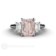 Pink Morganite 3 Stone Right Hand Ring Platinum Setting Emerald Cut Rare Earth Jewelry