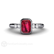 Rare Earth Jewelry Ruby Engagement Ring Bezel Emerald Cut Solitaire
