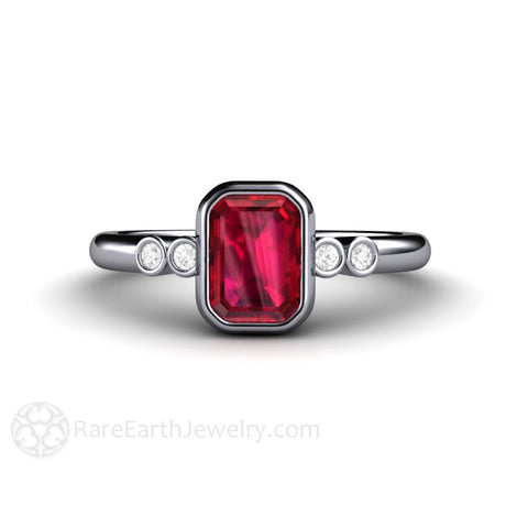 Ruby Engagement Ring Emerald Cut Bezel Set Solitaire with Diamonds