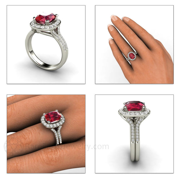 Split Shank Halo Cushion Ruby Diamond Ring 14K 18K Gold or Platinum Rare Earth Jewelry