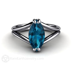 Platinum Marquise Cut Blue Topaz Solitaire Anniversary Ring Rare Earth Jewelry