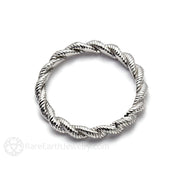Platinum Stackable Band Rope Twisted Design Stacking Ring Rare Earth Jewelry