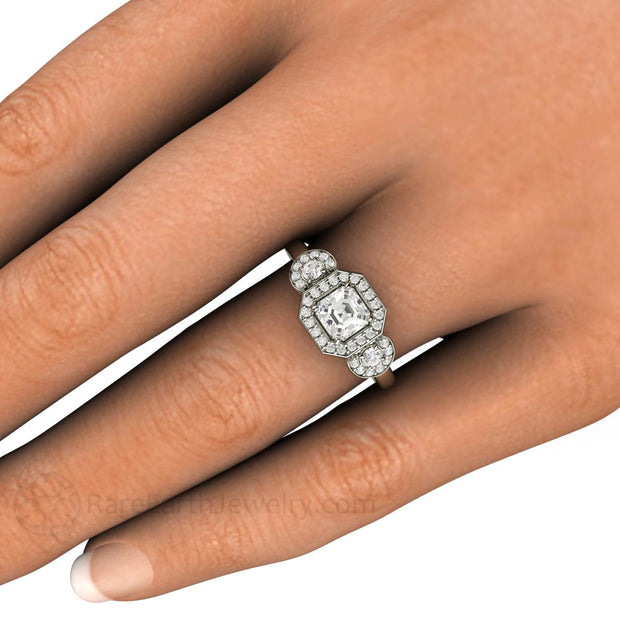 Asscher White Sapphire 3 Stone Halo Ring on Finger Rare Earth Jewelry