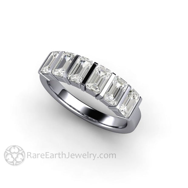 Platinum Moissanite Wedding Ring Affordable Diamond Alternative in Simple Contemporary Design