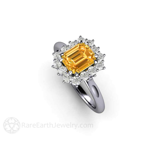 Orange Yellow Sapphire Wedding Anniversary Ring Diamond Halo Platinum Setting Rare Earth Jewelry