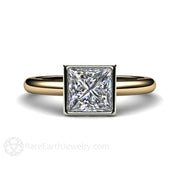 Princess Cut Moissanite Engagement Ring Simple Bezel Setting by Rare Earth Jewelry