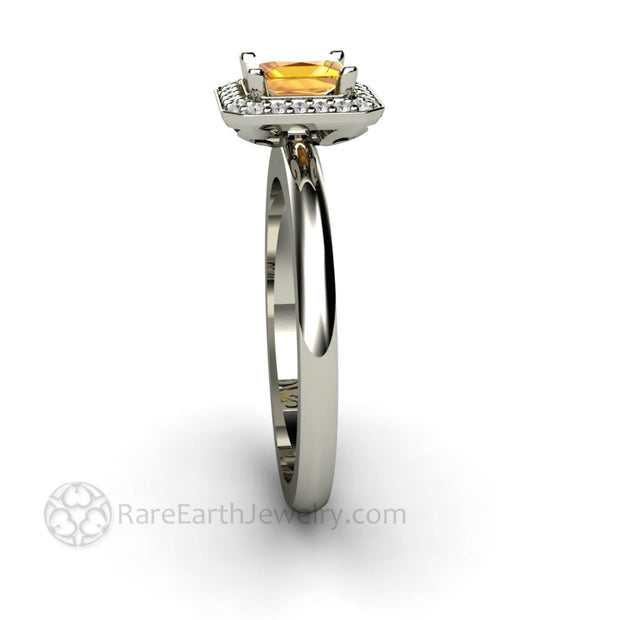 Princess Cut Sapphire Halo Anniversary Ring Natural Yellow Gemstone - Rare Earth Jewelry