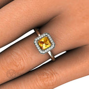 Princess Yellow Sapphire Halo Ring on Finger - Rare Earth Jewelry