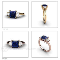 Rare Earth Jewelry Princess Cut Sapphire Ring 14K 18K Rose Yellow White Gold