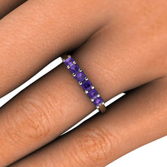 Princess Amethyst 6 Stone Anniversary Band Stacking Ring February Birthstone