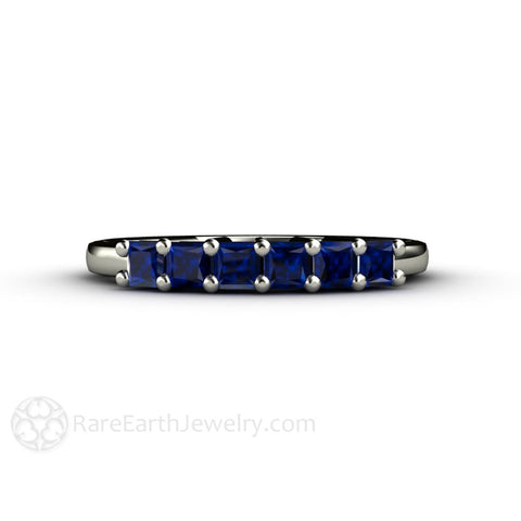 Princess Blue Sapphire Anniversary Band or Stacking Ring