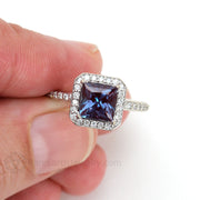 14K Alexandrite Halo Right Hand Ring on Finger Rare Earth Jewelry