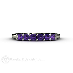 Rare Earth Jewelry Princess Amethyst 6 Stone Anniversary Band