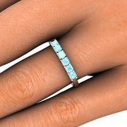 Princess Blue Aquamarine Ring Stackable Band Rare Earth Jewelry