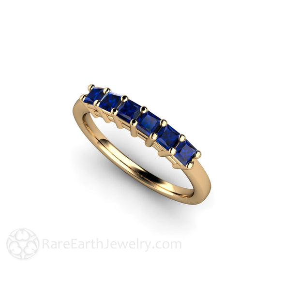 September Birthstone Ring Princess Blue Sapphire Rare Earth Jewelry