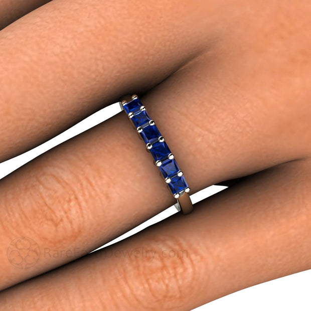 Blue Sapphire Stacking Ring on Finger Rare Earth Jewelry