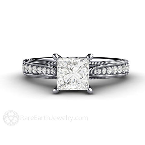 1ct Princess Diamond Engagement Ring Filigree Solitaire with Milgrain