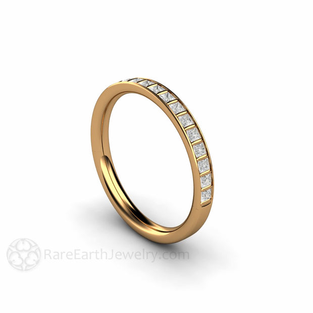 18K Yellow Gold Diamond Wedding Band Rare Earth Jewelry