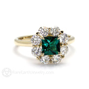 Princess Cut Emerald Halo Anniversary Ring 14K Gold Rare Earth Jewelry