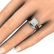Rare Earth Jewelry Princess Cut Wedding Set on Finger Forever One Moissanite 3ct Solitaire Engagement