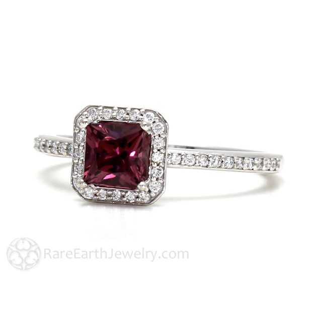 Rare Earth Jewelry Princess Cut Garnet Ring with Diamonds January Birthstone 14K or 18K Gold Halo Setting