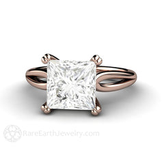 Rare Earth Jewelry Princess Cut Wedding Ring 14K Rose Gold Square Moissanite