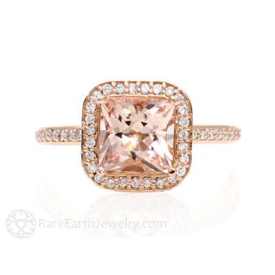Rare Earth Jewelry Princess Morganite Halo Ring Rose Gold