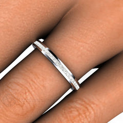 Channel Set Princess Diamond Wedding Ring Rare Earth Jewelry
