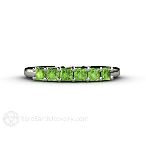 Peridot Princess Anniversary Band Stacking Ring August Birthstone