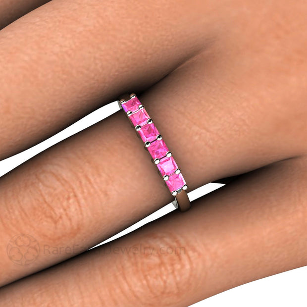 Princess Pink Sapphire Stacking Ring on Finger Rare Earth Jewelry