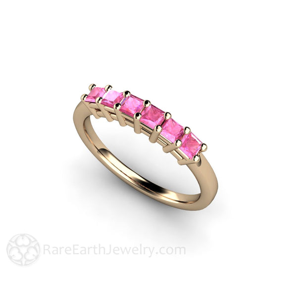14K Yellow Gold Pink Princess Cut Sapphire Ring Rare Earth Jewelry