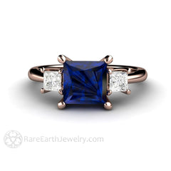 Rare Earth Jewelry 14K Rose Gold Princess Sapphire and Diamond Anniversary Ring