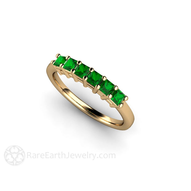 Tsavorite Garnet Princess Cut Stacking Band 14K Gold Rare Earth Jewelry