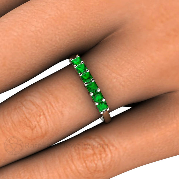 Princess Tsavorite Garnet Ring on Finger Rare Earth Jewelry